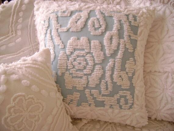 """SOLD - Vintage Chenille 'Cottage Rose' - 18"""" Pillow Cover - Powder Blue and Crisp White - Paris Apartment - Boudoir -  Roses"""