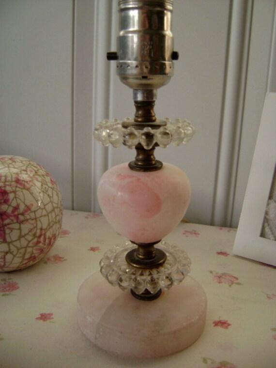 Petite, Pink Alabaster and Candlewick Glass Boudoir Lamp - Cottage Chic - Paris Apartment - Romantic