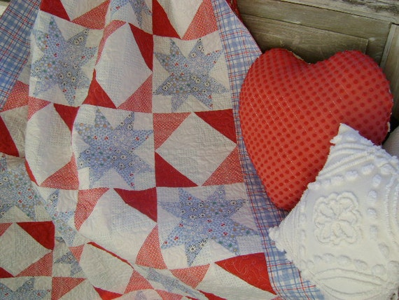 Red, White and Blue - 30's Style - Front Porch Quilt - 'OH, My Star's'  -  Lap Quilt - Picnic Quilt - 4th of July - PATRIOTIC