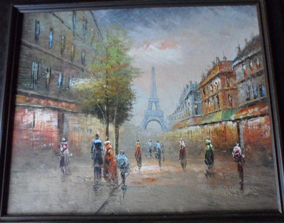 Vintage Oil Painting ( PARIS ) Eiffel Tower Cityscape