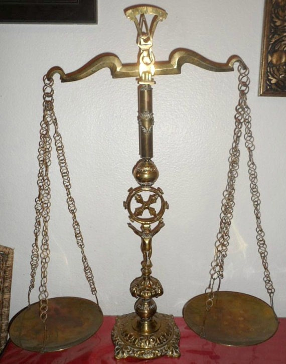 Antique Large Victorian Style Brass Counter Scale
