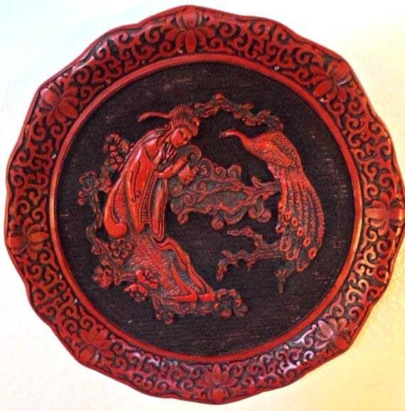 Asian Plate (WALL HANGING), The Sense of Sight Cinnabar