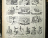 Sewing Machines and Attachments Vintage Reproduction of Antique Lithograph 16x20 Book Plate Knit Knitting Crochet