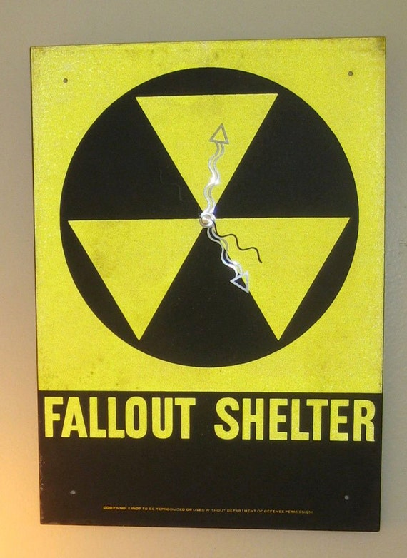 Atomic Fallout Shelter Wall Clock Made From an Authentic Reflective Metal Department of Defense Sign