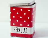 Polka Dotted Red and White Tin Canister from Soviet Era