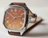Vintage Vostok mens watch, brown, Soviet Era