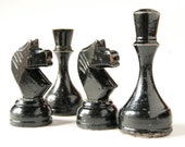 Vintage wood chess pieces, black chess, Soviet time