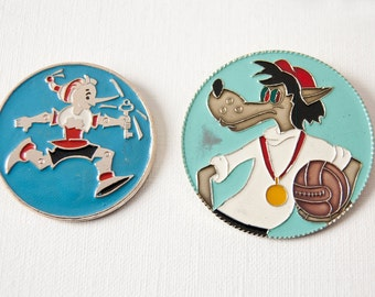 Buratino Russian Pinocchio and Wolf pins, Soviet cartoons badges, blue turquoise red shades pins, lapel pings, 70s fashion USSR kids fun