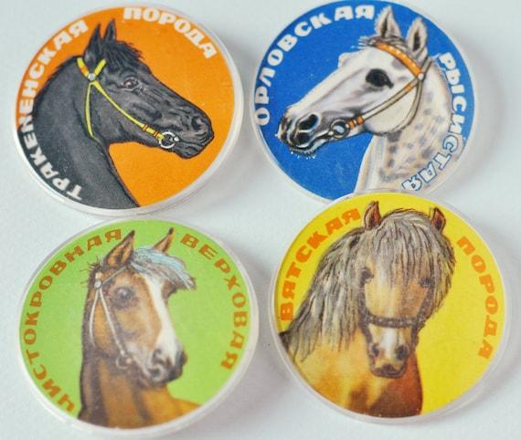 Horses breeds, Russian pins, set of 4
