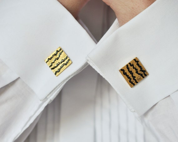 Cufflinks zig zag, gold toned metal, Soviet Era