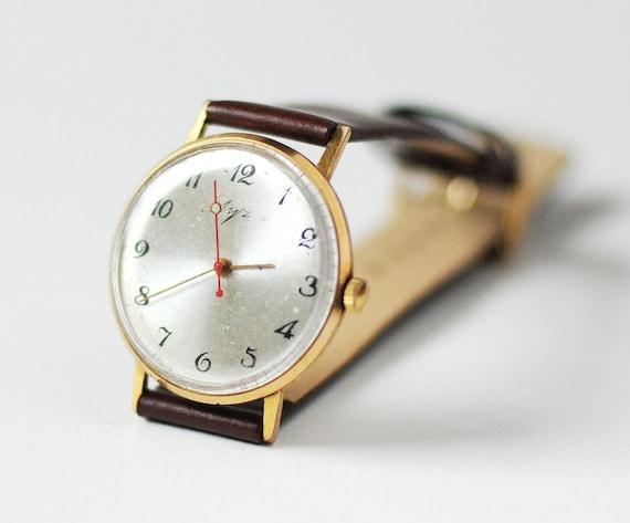 Vintage wristwatch Luch rare, ultra slim, gold plated (AU 20) from Soviet Era