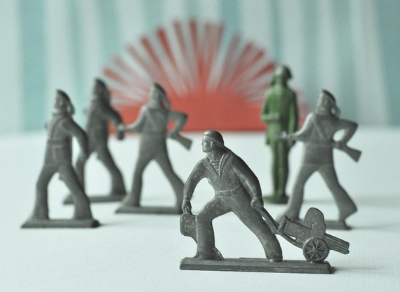 Vintage tin soldiers, pewter toys, Soviet naval and foot infantry