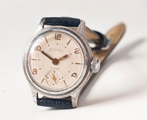 Womens wrist watch Vostok, white, navy blue tones, Soviet Union