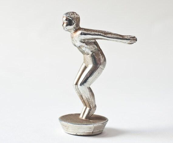 Diving sport trophy, vintage metal figurine, diver, swimming, Soviet time