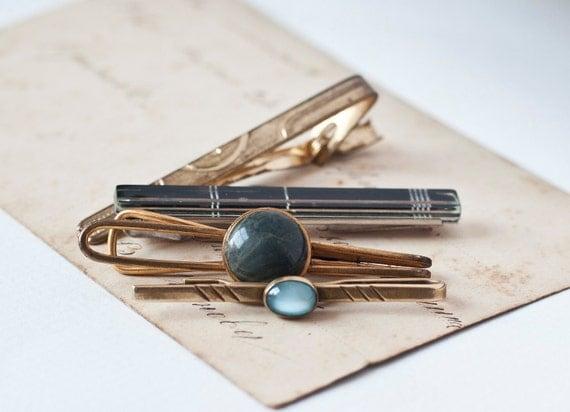 Vintage Tie Clips, gold, blue, black tones, Soviet Era