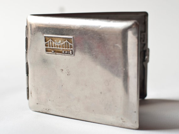 RESERV Cigarette case, silver tone holder, Soviet Era