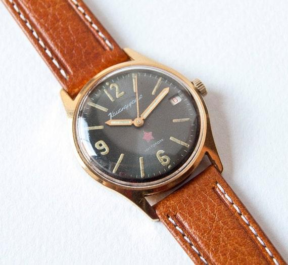 Soviet military wristwatch Komandirskie/Vostok, gold plated mens watch