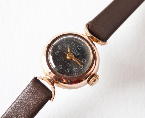 Womens wrist watch Zarja, tiny little gold plated, very rare, black dial watch, Soviet Era