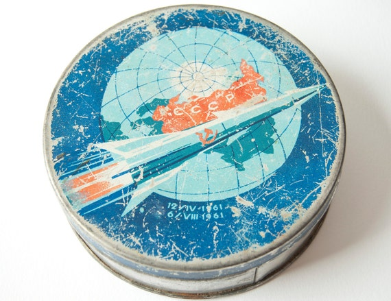 Vintage tin box, candy box, very rare can, first human spaceflights, blue, red tones, Soviet Era