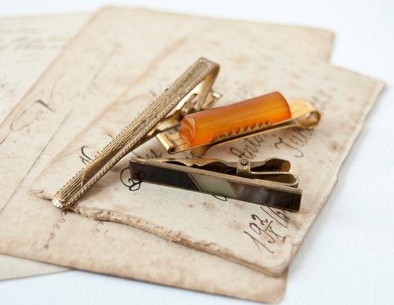 Vintage tie clips, gold, amber, brown tones, Soviet Era