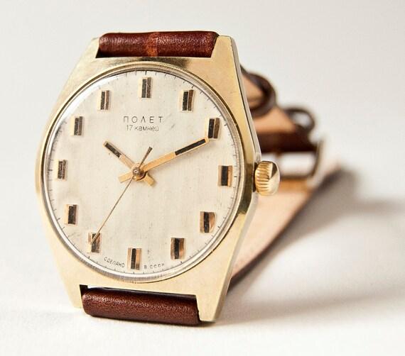 Vintage wrist watch Poljot, gold plated mens watch, brown tones, Soviet Era