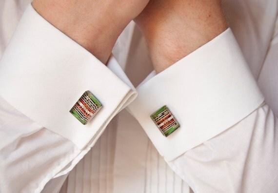 Vintage Cuff links, Green, Red, Metallic Stripes, Soviet Union