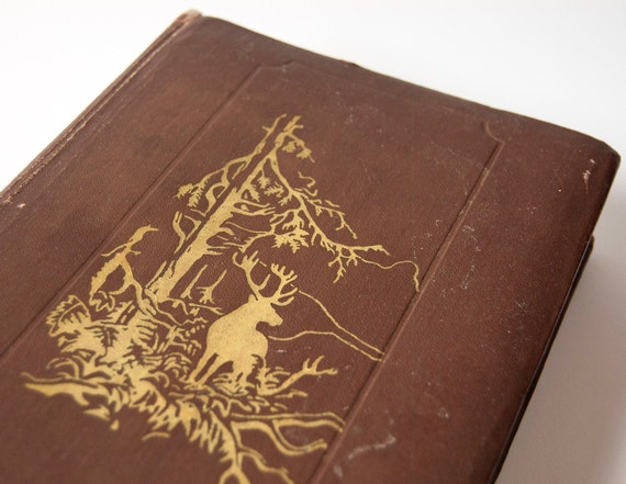 Russian Antique Photo Album, Brown Cover, Deer in Forest, some pages unused