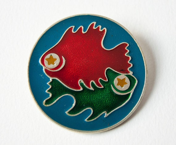 Zodiac pin Pisces, astrological sign the Fish, blue, red, green, Soviet pin