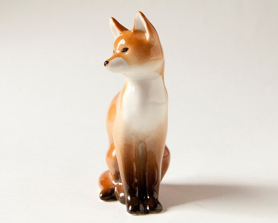 Vintage porcelain figurine red fox, Soviet Era