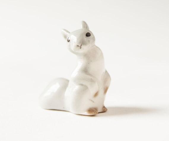Vintage squirrel figurine, grey squirrel, Soviet Era porcelain
