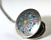Silver Locket green Mandala Medallion blue oriental necklace old style chain tibetian pendant