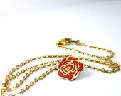 Red pendant tiny charm flower necklace gold chain ooak beautiful gift best give away