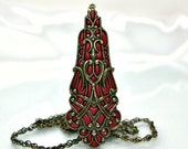 Old style necklace Antique brass jewelry victorian  gold burgundy  red pendant handmade old style jewelry 2012