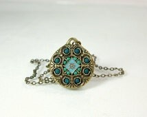 Antique brass necklace mandala jewelry green teal unique jewelry stores 2012 custom made summer trends