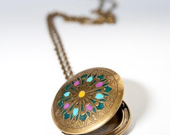 Brass locket mandala design handmade jewelry custom color special gift gold medallion