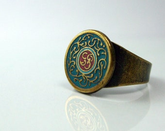 Old Style Ring brass jewelry gold green red enamel rings unique handmade jewelry