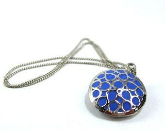 Silver blue necklace round pendant  handmade jewelery new stores 2012