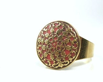 Gold ring victorian ring peach jewelry ooak custom ring enamel work