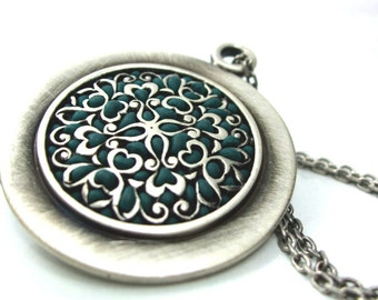 Silver teal Medallion green big pendant old style jewelry unique gifts for her