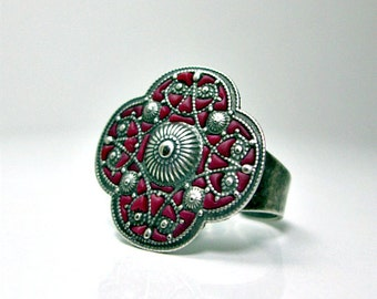 Oriental Ring Burgundy Silver Flower jewelry handmade filigree