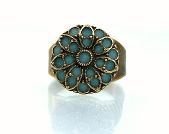Antique inspired ring aqua marine brass unique rings fashion jewelry 2012 antique enamel custom made ring unique gift for her