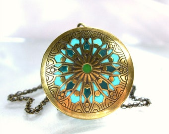 Locket necklace antique brass pendant teal gold unique jewelry handmade mandala