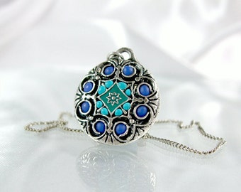 Blue Mandala pendant necklace turquoise silver necklace oriental jewelry gifts for her handmade chains summer 2012