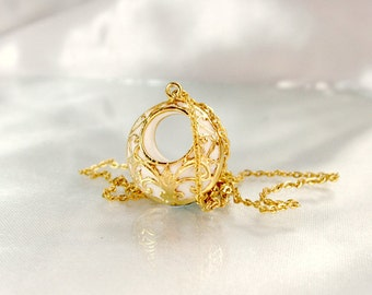 Victorian necklace gold white round small pendant handmade jewelry stores online