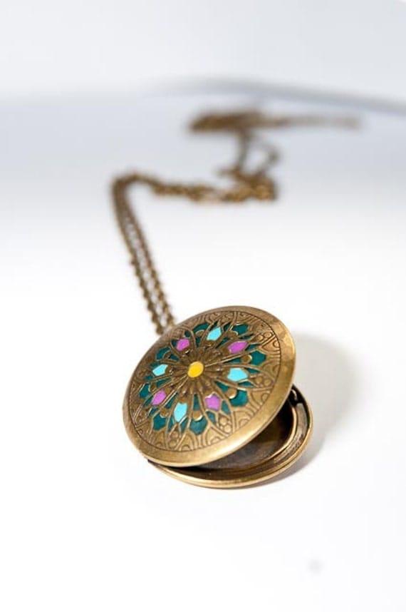 Brass locket mandala design handmade jewelry custom color special gift gold medallion