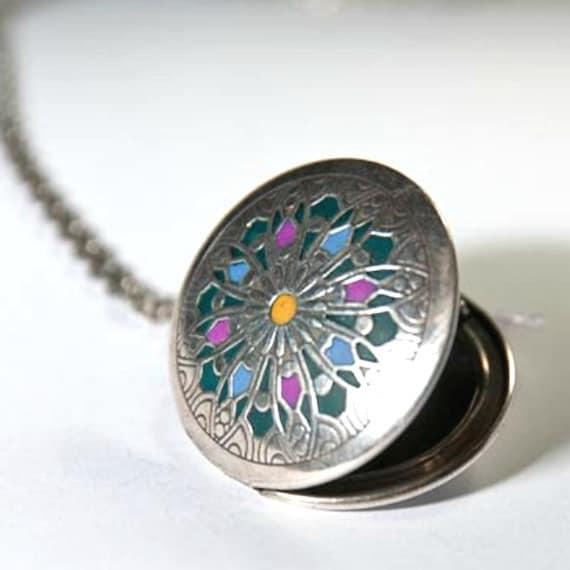 Silver Locket green Mandala Medallion blue oriental necklace old style chain tibetian pendant
