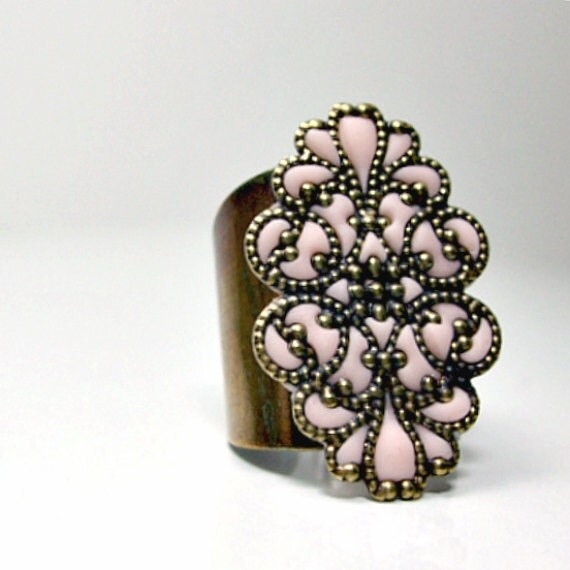 Pink ring brass peach jewelry handmade adjustable ring new jewelry stores online