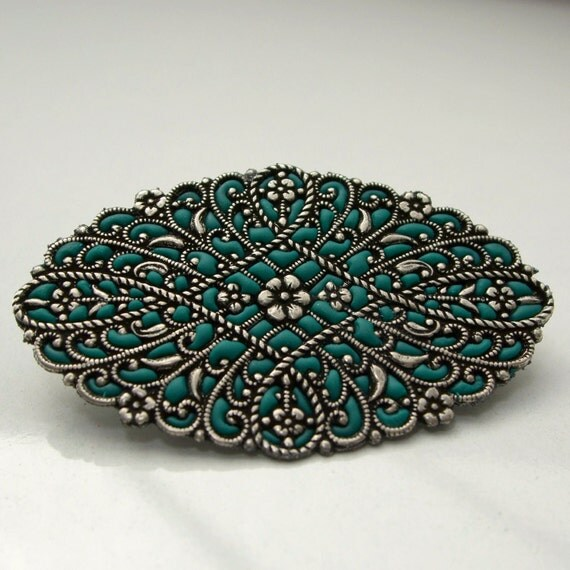 Silver brooch pin antique style jewelry handmade gifts for her oval brooch green pin filigree jewelry