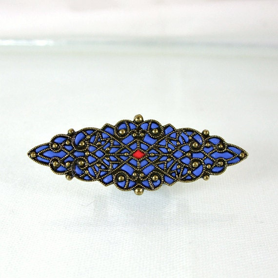 Long Blue Victorian Brooch filigree  jewelry  unique enamel brooches