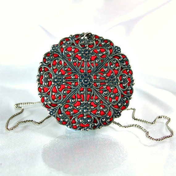 Red necklace antique silver pendant round filigree handmade jewelry store